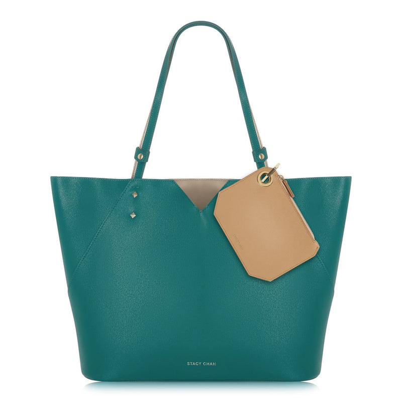 Teal Italian Leather Tote with Nude Coin Purse