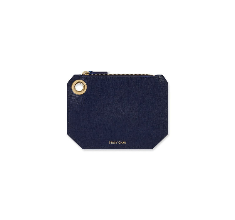 Navy Blue Italian Leather Coin Purse