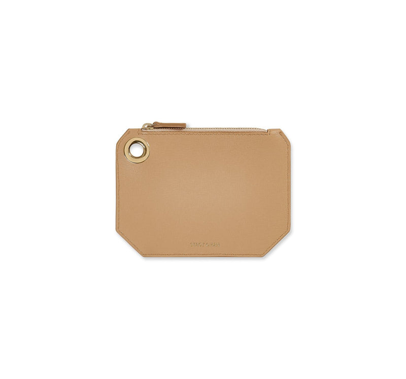 Nude beige Italian Leather Coin Purse