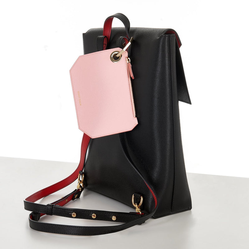 Italian Leather Backpack with Pink Coin Purse