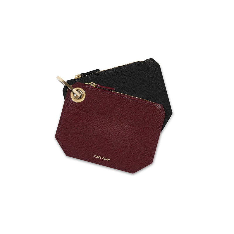 Black & Burgundy Italian Leather Coin Purses