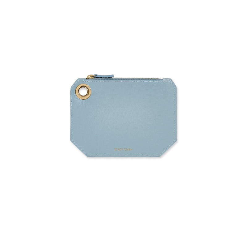 Small Ava Pouch in Powder Blue Saffiano Leather - Stacy Chan Limited