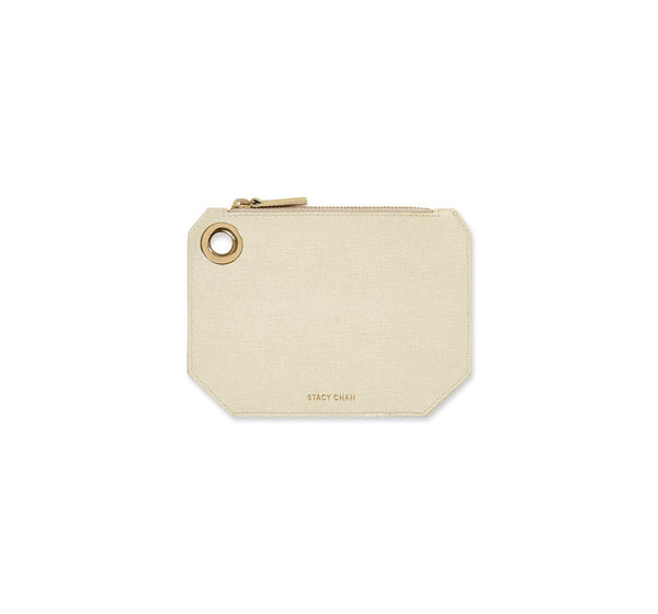 Cream Italian Leather Coin Purse