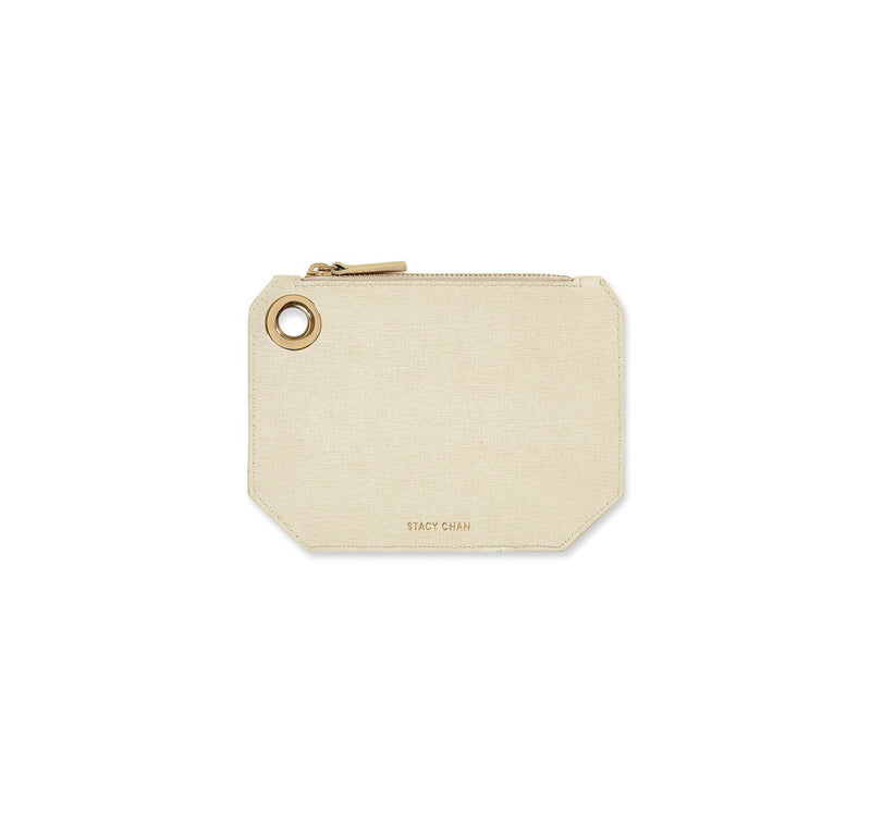 Small Ava Pouch in Stone Saffiano Leather - Stacy Chan Limited