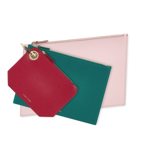 Pink, Peony & Fuchsia Leather Pouch Clutch Set