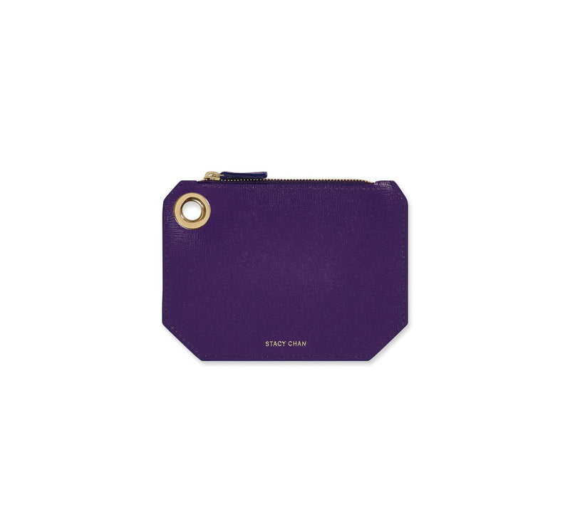 Purple Italian Leather Coin Purse