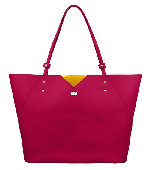 Fuchsia Saffiano Leather Tote Bag Handbag Designer Stacy Chan