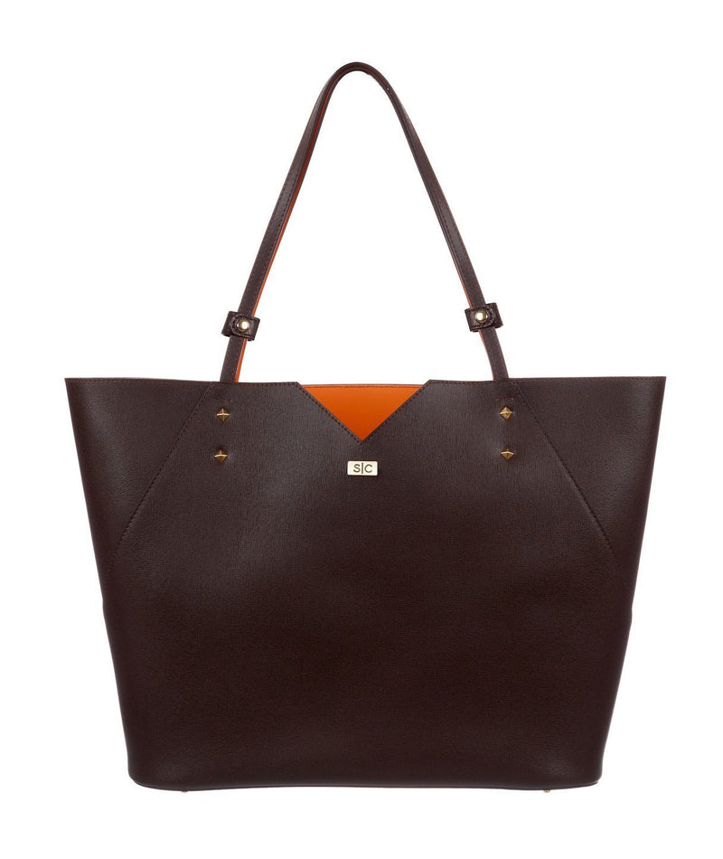Brown Saffiano Leather Tote Bag Handbag Designer Stacy Chan