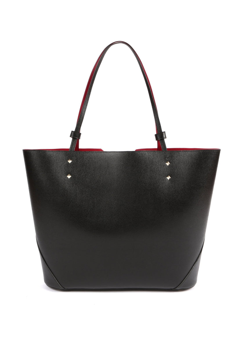Black Leather Tote Bag - Designer Stacy Chan