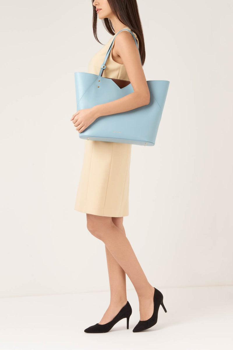 Light Blue Saffiano Leather Tote Bag - Designer Stacy Chan