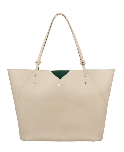White Saffiano Leather Tote Bag Handbag Designer Stacy Chan