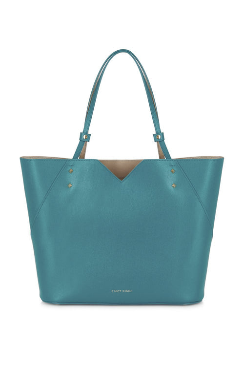Veronica Tote in Teal Saffiano Leather - Stacy Chan Limited