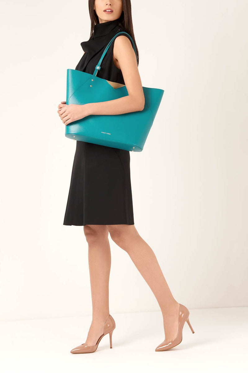 Teal Leather Tote Bag - Designer Handbag Stacy Chan