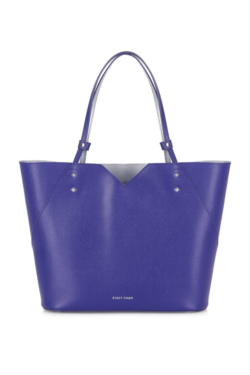 Purple Saffiano Leather Tote Bag Handbag - Designer Stacy Chan