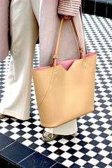 Nude Beige Italian Leather Tote bag - Designer Stacy Chan