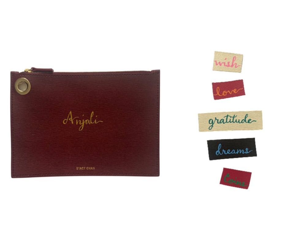 Painted Calligraphy on Leather Pouches and Acccessories