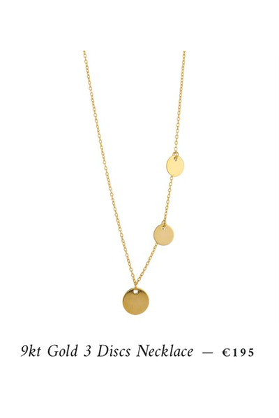3 gold disks necklace