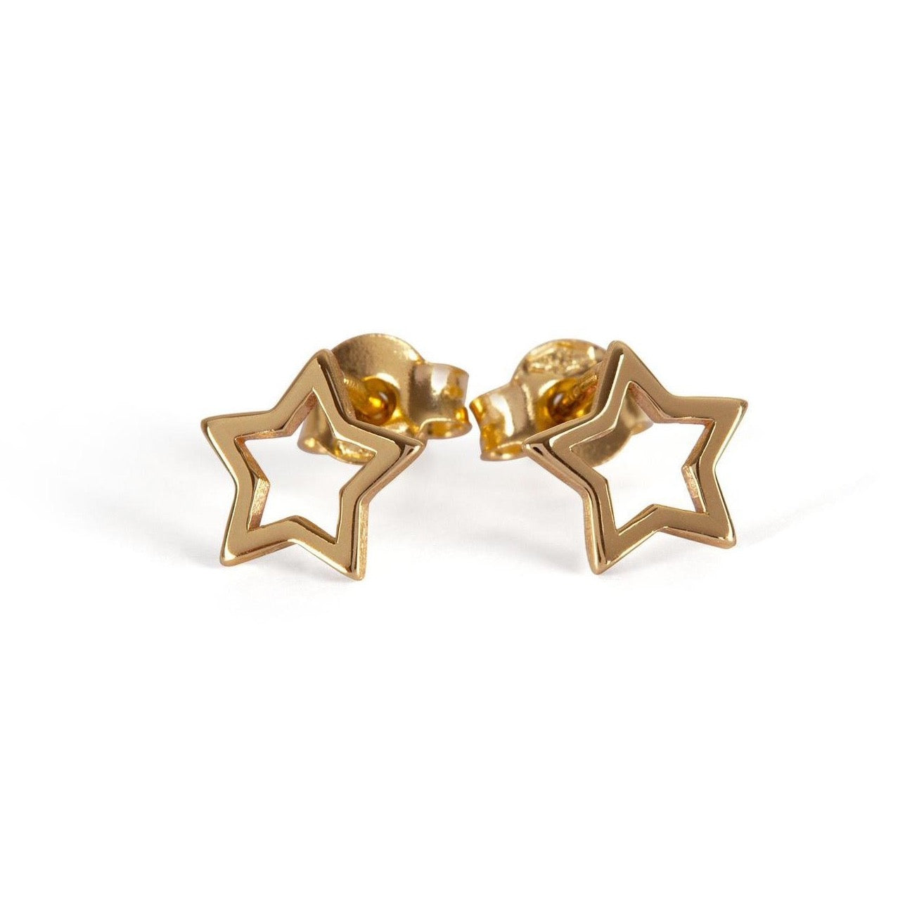 9kt Gold Open Star Stud Earrings