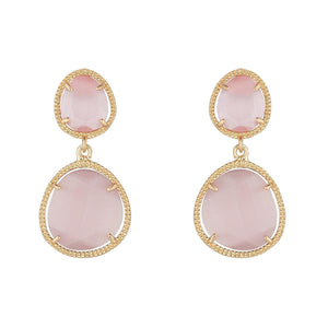 Dusky Pink Glass Double Drop Earrings