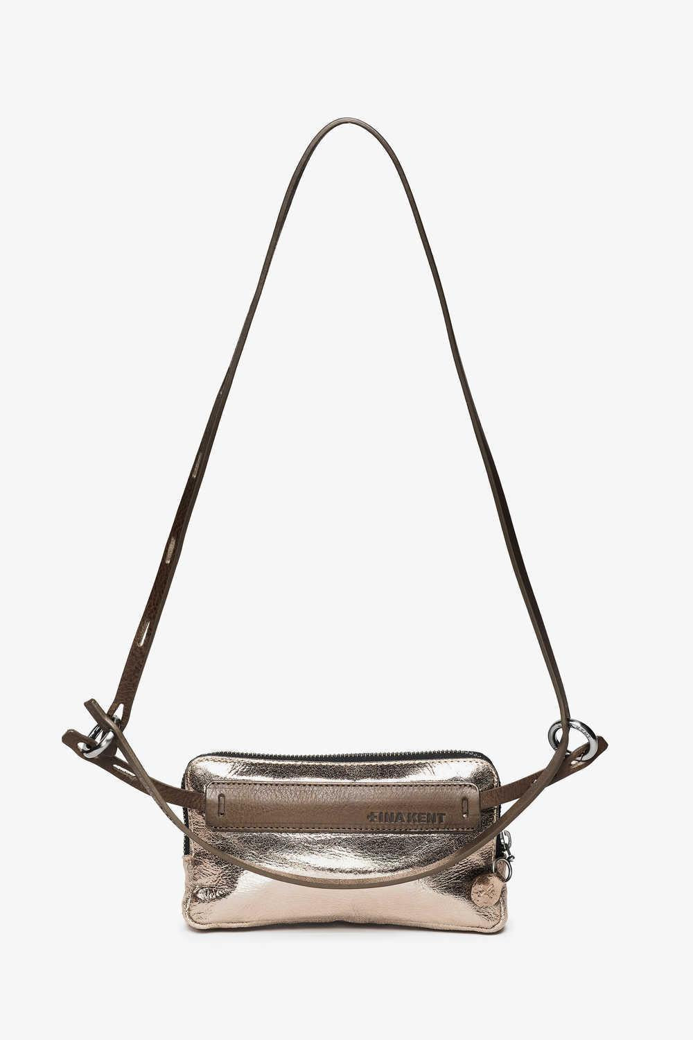 Ina Kent Crackled Anthra Small Handbag