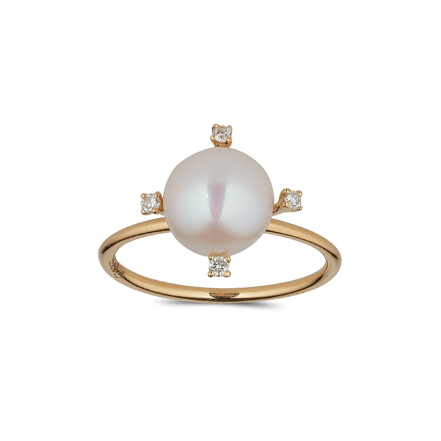 18kt Gold Pearl Diamond Ring - MoMuse Jewellery