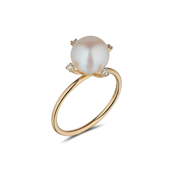 18kt Gold Pearl Diamond Ring