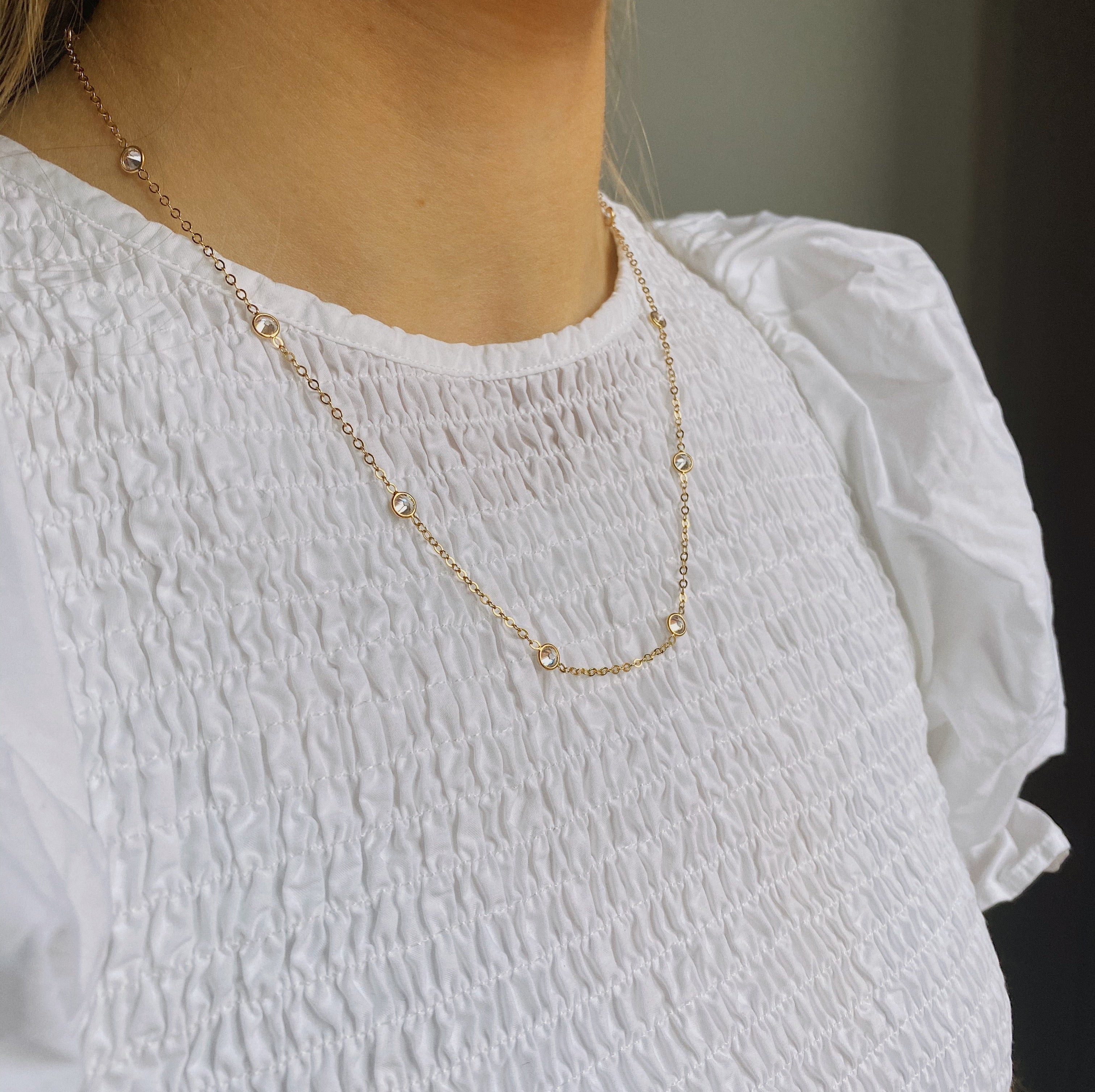 14kt Gold Filled CZ Satellite Necklace