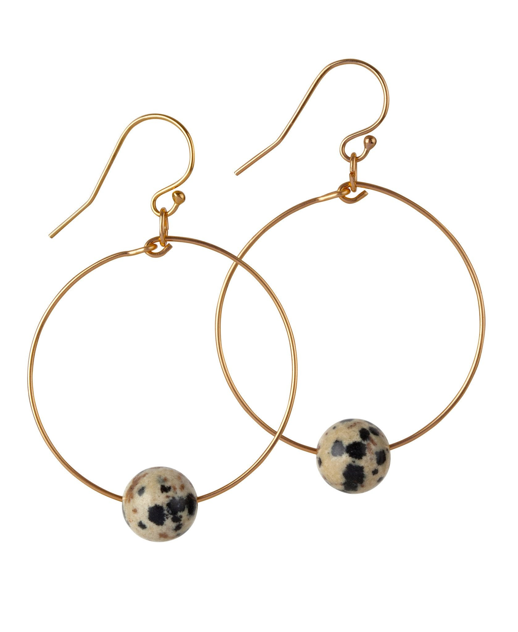 14kt Gold Filled Dalmatian Jasper Hoops