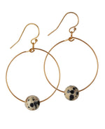 Load image into Gallery viewer, 14kt Gold Filled Dalmatian Jasper Hoops