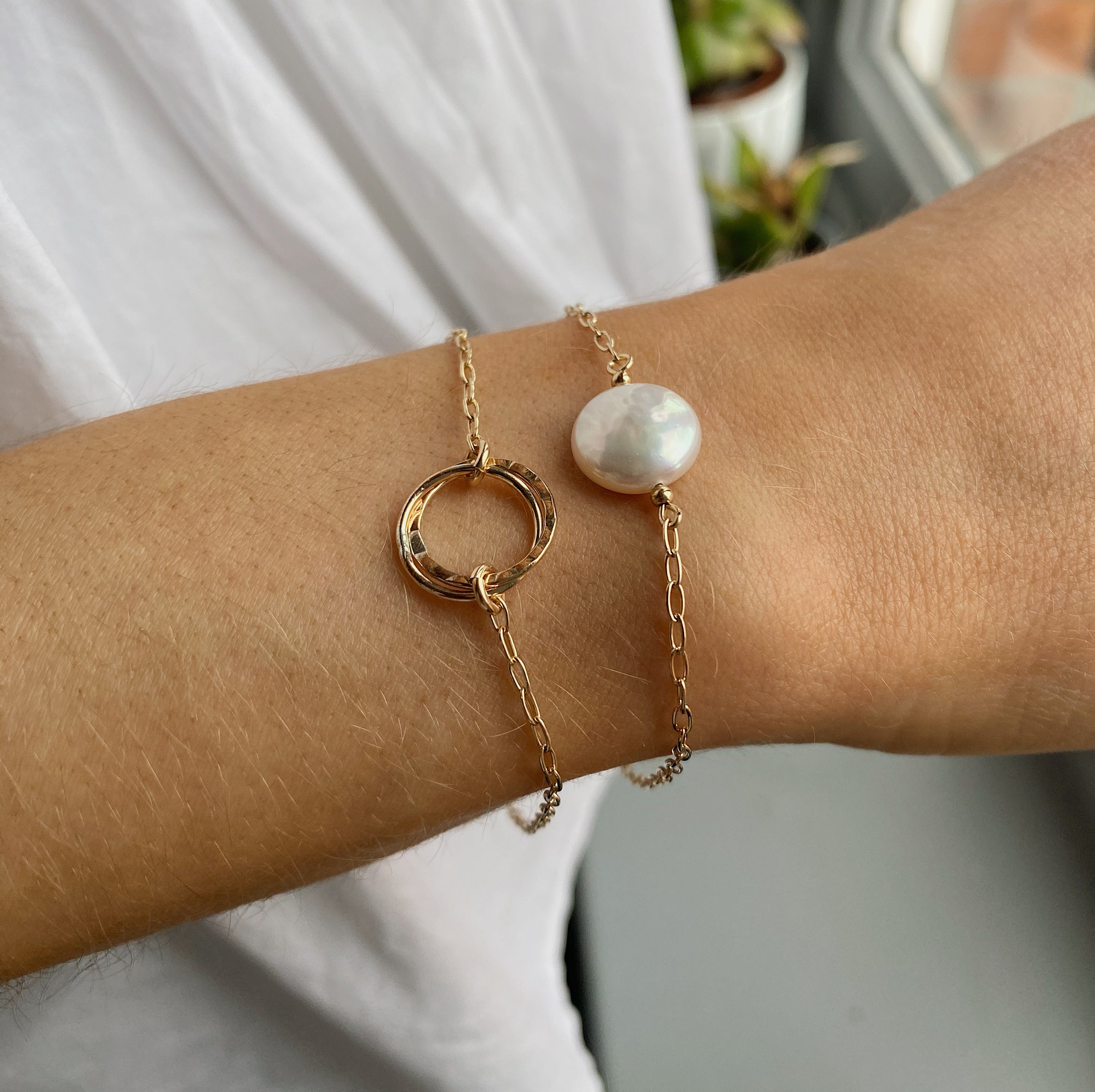 Gold Filled Coin Pearl Bracelet