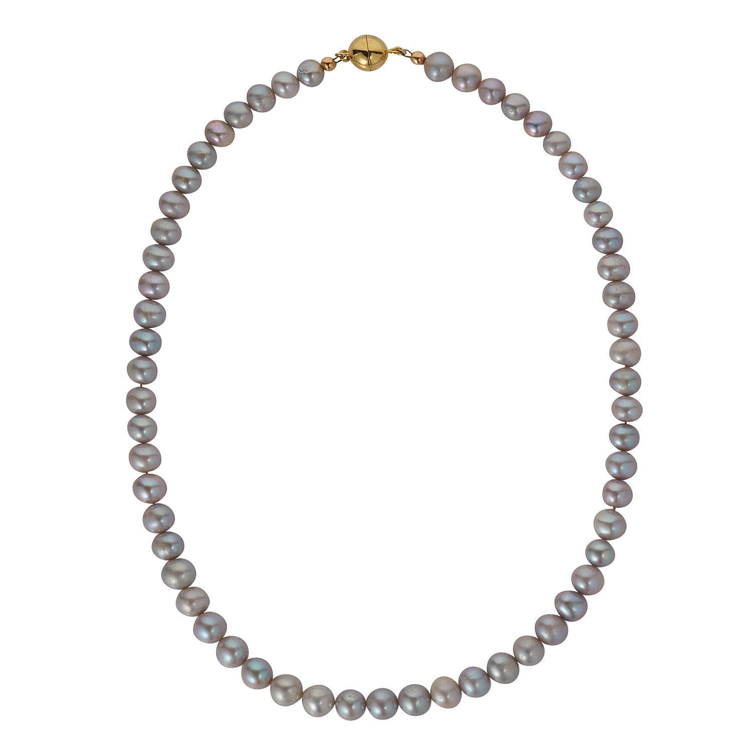 String of Grey Freshwater Pearls with Gold Plated Magnetic Clasp
