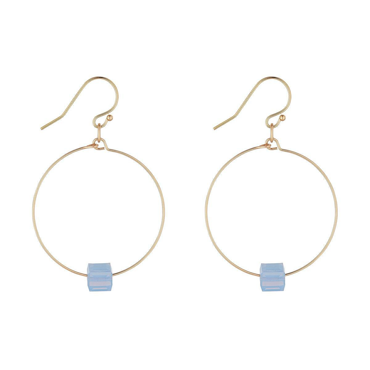 14kt Gold Filled Small Hoop with Powder Blue Cube