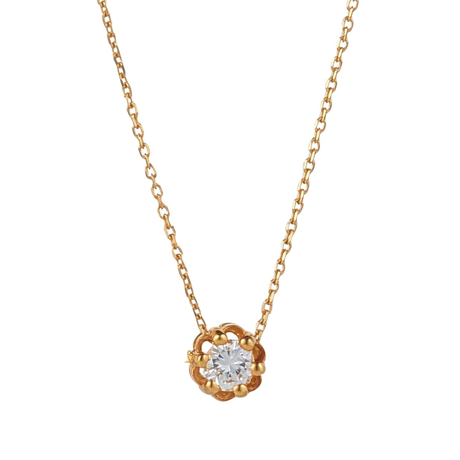 18kt Yellow Gold Solitaire Diamond Pendant