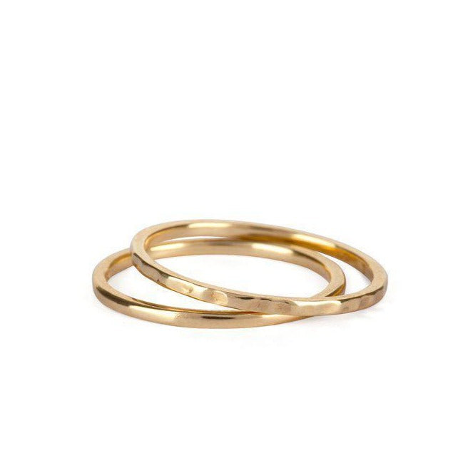 9kt Gold Hammered Stack Ring
