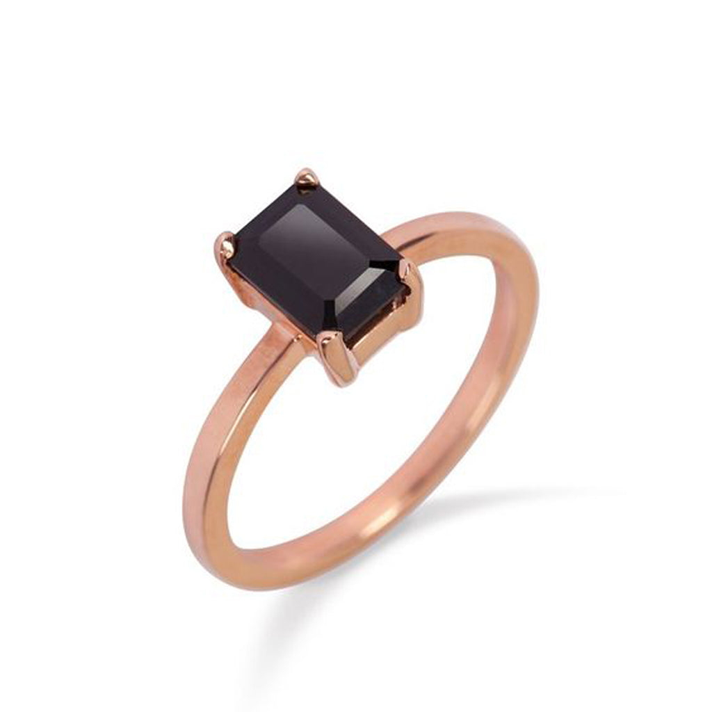 9kt Rose Gold Ring with Black Onyx - MoMuse Jewellery