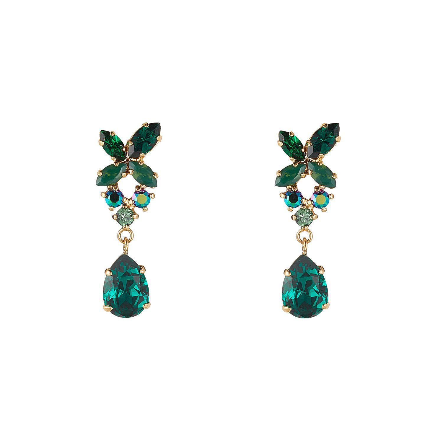 Emerald Green Cluster&TearDrop Earrings