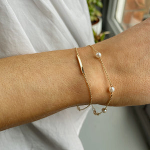 9kt Gold Five Pearl and Chain Bracelet