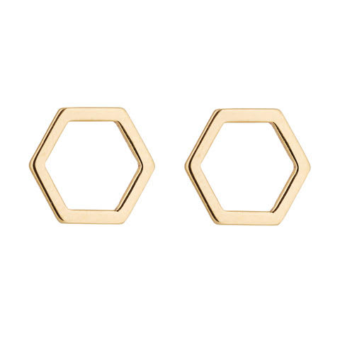 9kt Gold Open Hexagon Studs