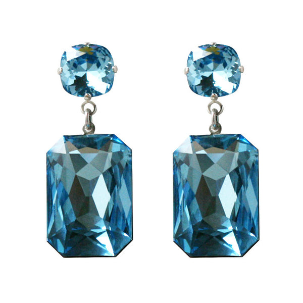 Aqua Marine Crystal Slab Earrings by Merle O'Grady