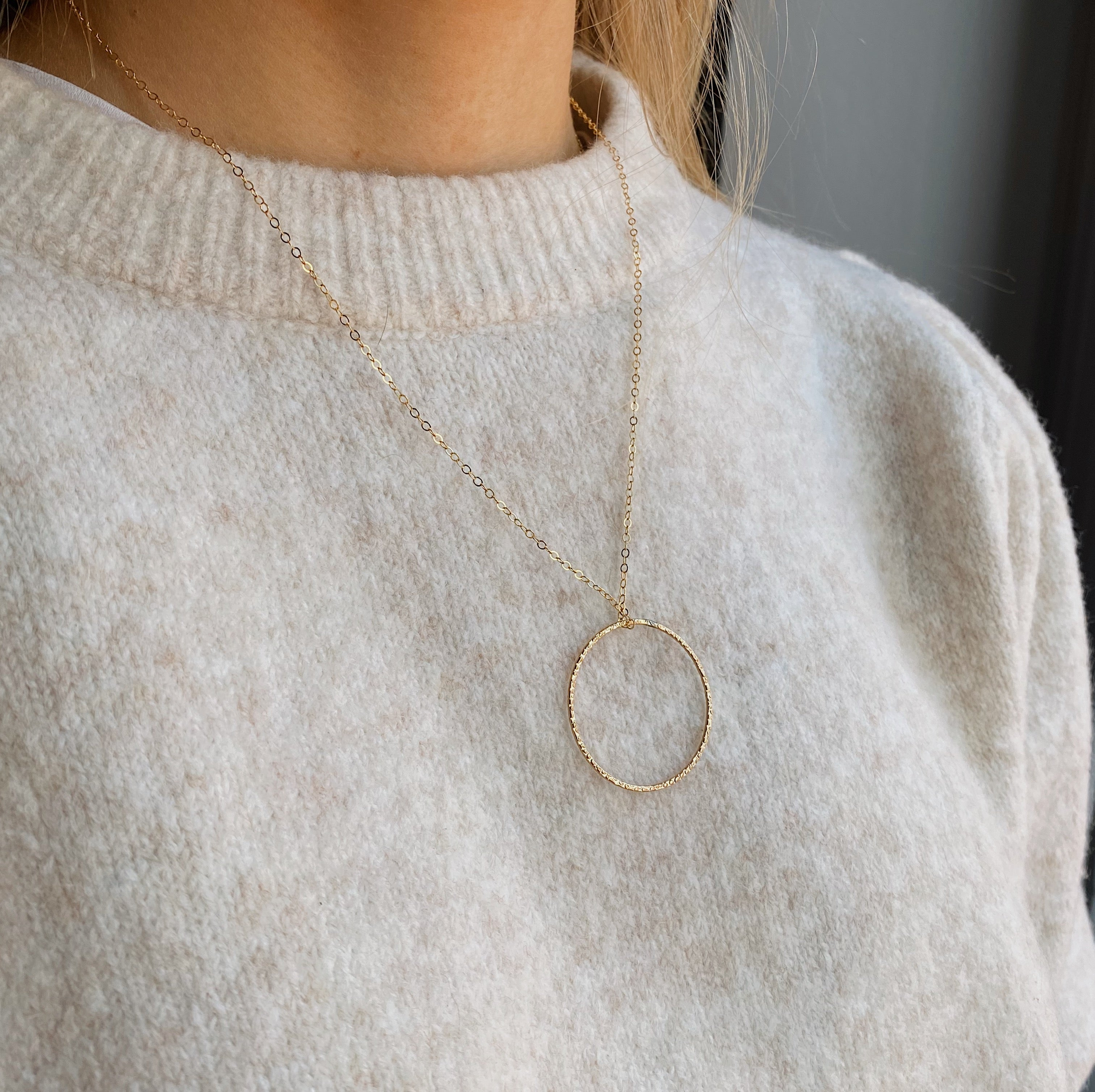 14kt Gold Filled Hammered Circle Pendant