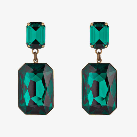 Large Emerald Green Swarovski Earrings by Merle O'Grady
