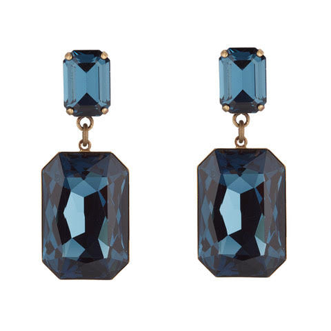 Large Navy Swarovski Earrings by Merle O'Grady