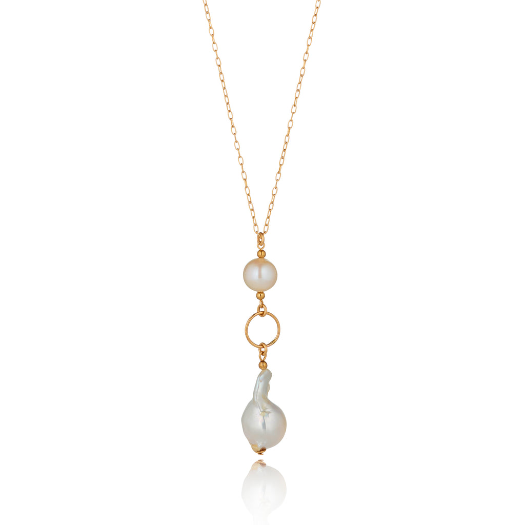 14kt Gold Filled Long Baroque Pearl Necklace