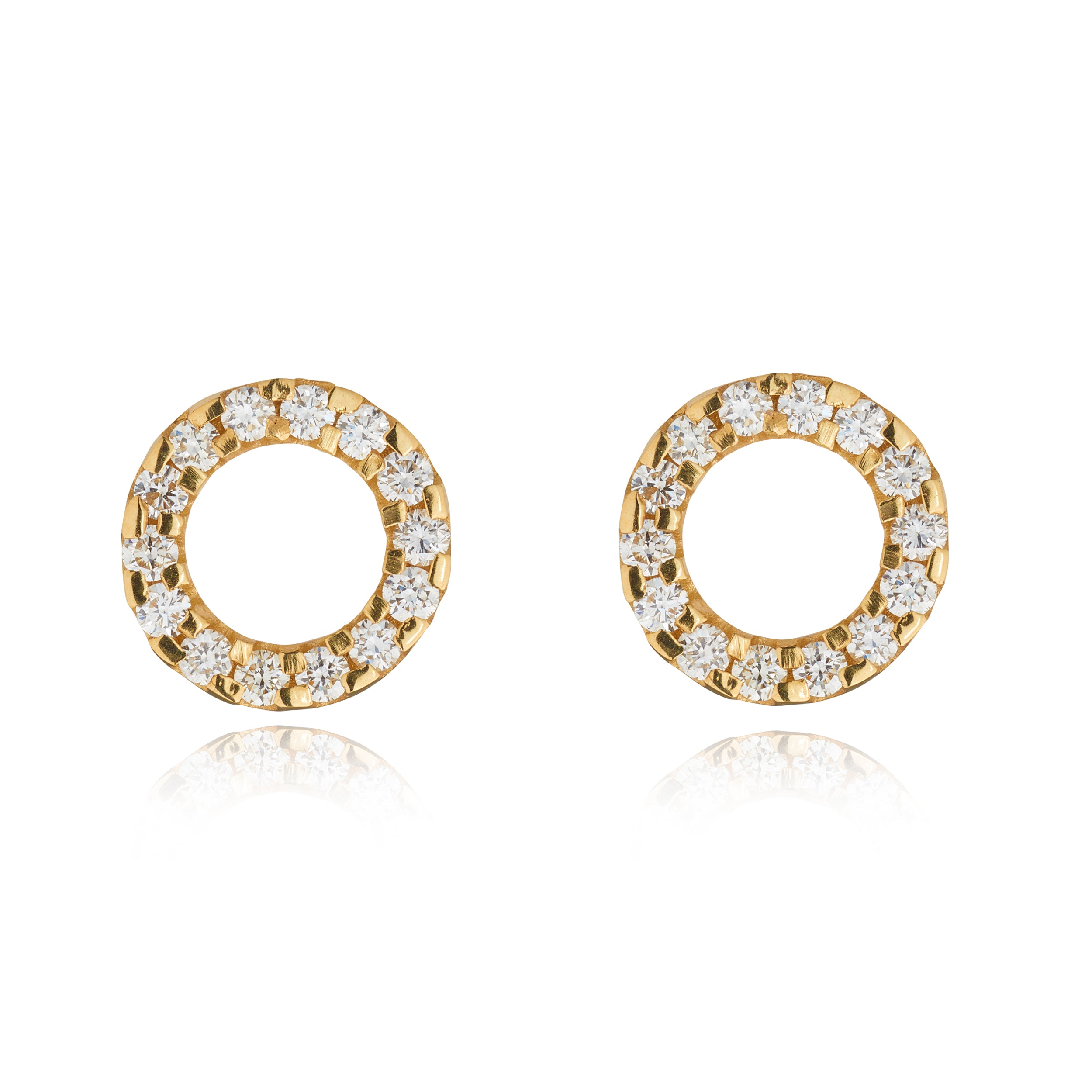9kt Diamond Circle Studs - MoMuse Jewellery