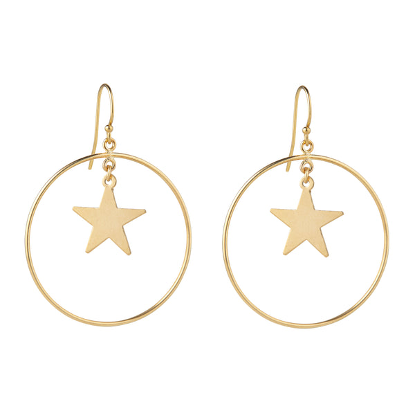 Star & Circle Gold Filled Earrings