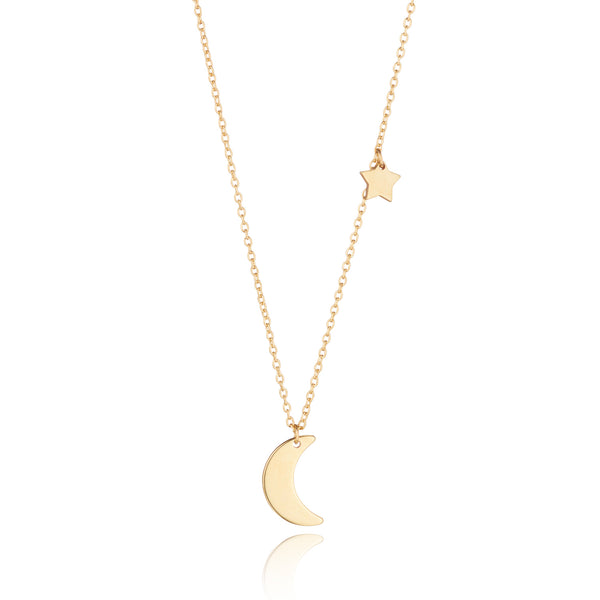9kt Gold Moon & Star Necklace