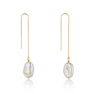 14kt Gold Filled Baroque Pearl Threaders - MoMuse Jewellery