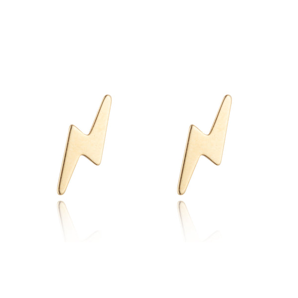 9kt Gold Lightening Bolt Studs