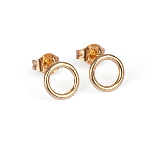 9kt Gold Circle Stud Earrings - MoMuse Jewellery