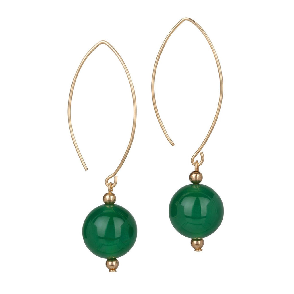 14kt Gold Filled Oval Open Green Agate Earrings - MoMuse Jewellery
